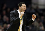 Vanderbilt head coach Bryce Drew cheers on his players in the first half of an NCAA college basketball game against Alabama, Saturday, Feb. 9, 2019, in Nashville, Tenn. (AP Photo/Mark Humphrey)