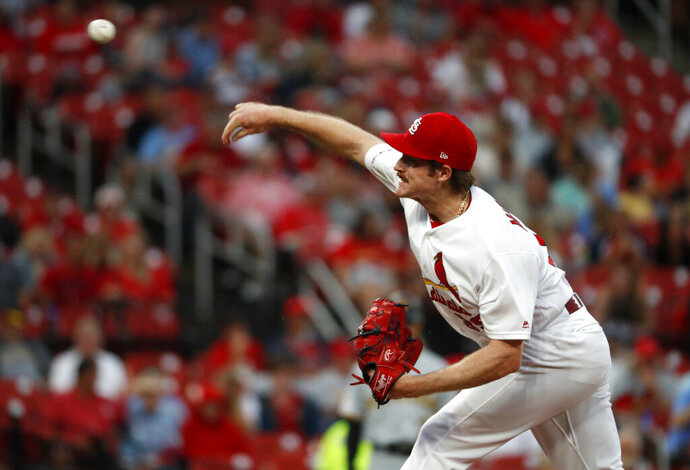 St. Louis Cardinals starting pitcher Miles Mikolas throws during the first inning of a baseball game against the Pittsburgh Pirates, Monday, July 15, 2019, in St. Louis. (AP Photo/Jeff Roberson)