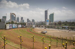 Meskel Square stands empty in central Addis Ababa, Ethiopia, Sunday, June 23, 2019. Ethiopia's government foiled a coup attempt in a region north of the capital and the country's military chief was shot dead, the prime minister Abiy Ahmed said Sunday in a TV announcement.  (AP Photo/Mulugeta Ayene)