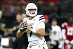 Mississippi State quarterback Tommy Stevens (7) looks to throw in the first quarter of an NCAA college football game against Louisiana-Lafayette in New Orleans, Saturday, Aug. 31, 2019. (AP Photo/Chuck Cook)