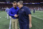 Los Angeles Rams head coach Sean McVay, left, and New England Patriots head coach Bill Belichick shakes hands before the NFL Super Bowl 53 football game between the Rams and the Patriots Sunday, Feb. 3, 2019, in Atlanta. (AP Photo/David J. Phillip)