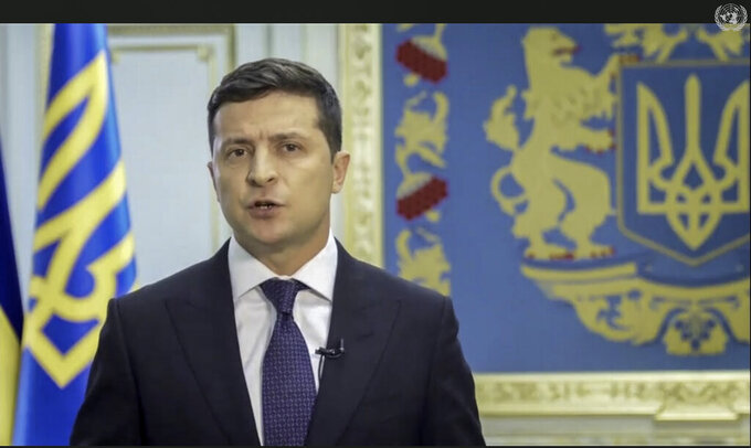 In this UNTV image, Volodymyr Zelenskyy, President of Ukraine, speaks in a pre-recorded video message during the 75th session of the United Nations General Assembly, Wednesday, Sept. 23, 2020, at UN headquarters in New York. The U.N.'s first virtual meeting of world leaders started Tuesday with pre-recorded speeches from heads-of-state, kept at home by the coronavirus pandemic. (UNTV via AP)