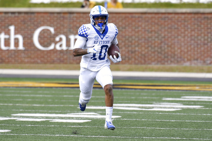 Kentucky running back Asim Rose Jr. runs with the ball during the first half of an NCAA college football game against Missouri Saturday, Oct. 24, 2020, in Columbia, Mo. (AP Photo/L.G. Patterson)