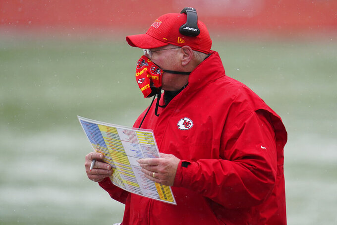 Kansas City Chiefs head coach Andy Reid looks on during the first half of an NFL football game against the Denver Broncos, Sunday, Oct. 25, 2020, in Denver. The Chiefs and Miami Dolphins on Sunday, Dec. 13. (AP Photo/David Zalubowski)