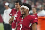 Arizona Cardinals quarterback Kyler Murray (1) smiles while on the sideline during an NFL preseason game against the Los Angeles Chargers on 8/8/19 in Glendale, Ariz. (Gene Lower via AP)