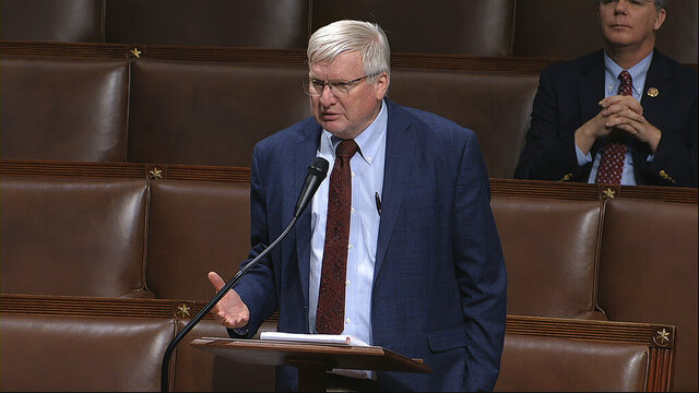 In this image from video, Rep. Glenn Grothman, R-Wis., speaks on the floor of the House of Representatives at the U.S. Capitol in Washington, Thursday, April 23, 2020. (House Television via AP)