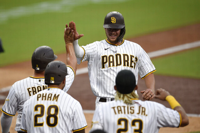 San Diego Padres designated hitter Wil Myers, top right, celebrates with Ty France after hitting a three-run home run during the fourth inning of a baseball game against the Arizona Diamondbacks in San Diego, Saturday, July 25, 2020. (AP Photo/Kelvin Kuo)