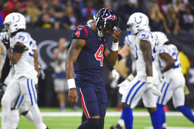 Houston Texans quarterback Deshaun Watson (4) walks off the field during the second half of an NFL football game against the Indianapolis Colts Thursday, Nov. 21, 2019, in Houston. (AP Photo/Eric Christian Smith)