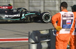 Mercedes driver Valtteri Bottas of Finland steers his car during the second practice session for the upcoming Russian Formula One Grand Prix, at the Sochi Autodrom circuit, in Sochi, Russia, Friday, Sept. 25, 2020. The Russian Formula One Grand Prix will take place on Sunday. (Kirill Kudryavtsev, Pool via AP)