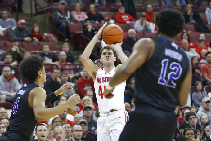 Ohio State's Danny Hummer takes a shot against High Point during the second half of an NCAA college basketball game Saturday, Dec. 29, 2018, in Columbus, Ohio. Ohio State beat High Point 82-64. (AP Photo/Jay LaPrete)