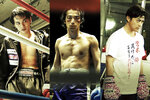 """This undated combination image of photos provided by 2020 UNDERDOG FILM PARTNERS shows Takumi Kitamura, from left, Mirai Moriyama and Ryo Katsuji, in the movie sets of """"Underdog,"""" directed by Masaharu Take. Take's films have always focused on painful stories about Japan's"""