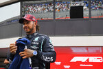 Mercedes driver Lewis Hamilton of Britain reacts after the qualifying session ahead of the French Formula One Grand Prix at the Paul Ricard racetrack in Le Castellet, southern France, Saturday, June 19, 2021. The French Grand Prix will be held on Sunday. (Nicolas Tucat/Pool via AP)