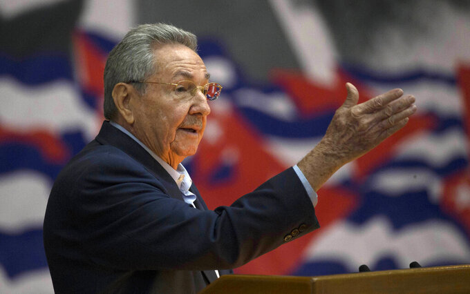 FILE - In this April 16, 2016 file photo, Cuba's President Raul Castro addresses the Cuban Communist Party Congress in Havana, Cuba. The VIII Congress of the Communist Party of Cuba, between April 16 and 19, 2021, could go down in history as the last with a member of the Castro family at the head, if Raul Castro fulfills his announcement to say goodbye as Secretary General. (Ismael Francisco/Cubadebate via AP File)