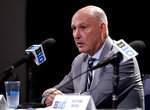 Big Ten Commissioner Jim Delany speaks at a press conference during Big Ten NCAA college basketball media day Thursday, Oct. 11, 2018, in Rosemont, Ill. (AP Photo/Nam Y. Huh)