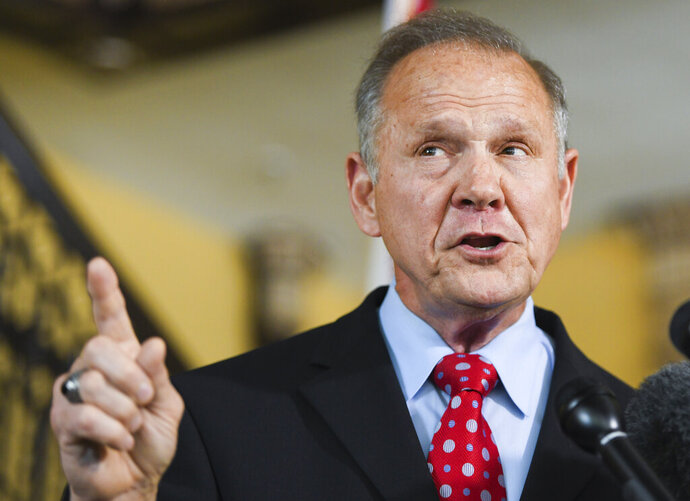 Former Alabama Chief Justice Roy Moore announces his run for the republican nomination for U.S. Senate Thursday, June 20, 2019, in Montgomery, Ala. (AP Photo/Julie Bennett)