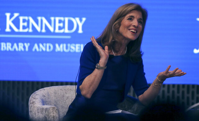 FILE - This June 19, 2019 file photo shows Caroline Kennedy during the JFK Space Summit at the John F. Kennedy Presidential Library in Boston. John F. Kennedy's daughter Caroline will participate in the christening of a new aircraft carrier that's named after the 35th U.S. president.  Newport News Shipbuilding said the christening of the USS John Kennedy will occur Saturday, Dec. 7, 2019 at the shipyard in Newport News, Va.   (AP Photo/Charles Krupa, File)