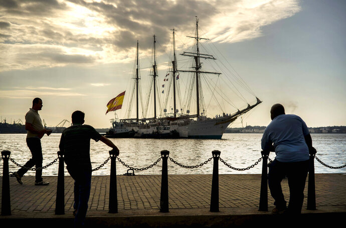 FILE - In this May 11, 2016 file photo, the Juan Sebastian de Elcano training ship for the Royal Spanish Navy arrives in Havana Bay, Cuba. The ship was named for a Basque captain who completed the 1519-1522 circumnavigation with 17 of the roughly 240 crewmembers who began it, led by Portuguese mariner Ferdinand Magellan. (AP Photo/Ramon Espinosa, File)