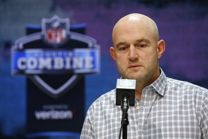 Cincinnati Bengals Director of Player Personnel Duke Tobin speaks during a press conference at the NFL football scouting combine in Indianapolis, Tuesday, Feb. 25, 2020. (AP Photo/Charlie Neibergall)