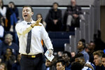 Georgia Southern head coach Mark Byington calls a play during the first half of an NCAA college basketball game against Auburn Tuesday, Nov. 5, 2019, in Auburn, Ala. (AP Photo/Julie Bennett)