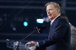 NFL Commissioner Roger Goodell announces the start of the second round of the NFL football draft, Friday, April 30, 2021, in Cleveland. (AP Photo/Tony Dejak)