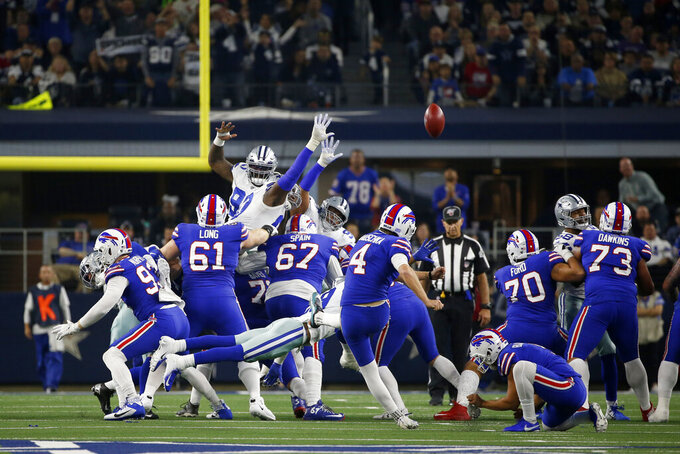 Buffalo Bills place kicker Stephen Hauschka (4) attempts a fieldworker goal in the first half of an NFL football game against the Dallas Cowboys in Arlington, Texas, Thursday, Nov. 28, 2019. Hauschka missed on the attempt. (AP Photo/Ron Jenkins)