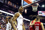 Florida State guard Trent Forrest (3) reacts to a dunk late in the second half of an NCAA college basketball game against Louisville in Tallahassee, Fla., Monday, Feb. 24, 2020. (AP Photo/Mark Wallheiser)