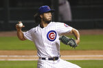 Chicago Cubs starting pitcher Yu Darvish delivers to a Cincinnati Reds batter during the third inning of a baseball game Wednesday, Sept. 9, 2020, in Chicago. (AP Photo/Kamil Krzaczynski)