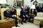 President Donald Trump speaks during a meeting with Italian President Sergio Mattarella in the Oval Office of the White House, Wednesday, Oct. 16, 2019, in Washington. (AP Photo/Evan Vucci)