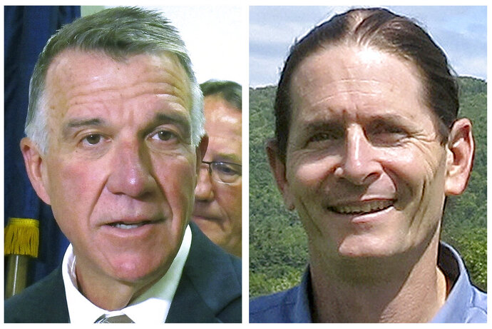 FILE - This file photo combo shows Vermont incumbent Republican Gov. Phil Scott, left, and Democrat Lt. Gov. David Zuckerman, candidates for Vermont governor in the Nov. 3, 2020, general election. (AP Photos, File)