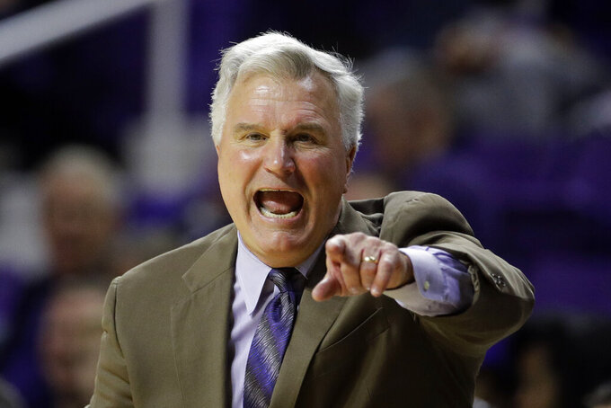 Kansas State head coach Bruce Weber talks to his players during the first half of an NCAA college basketball game against Alabama State Wednesday, Dec. 11, 2019, in Manhattan, Kan. (AP Photo/Charlie Riedel)