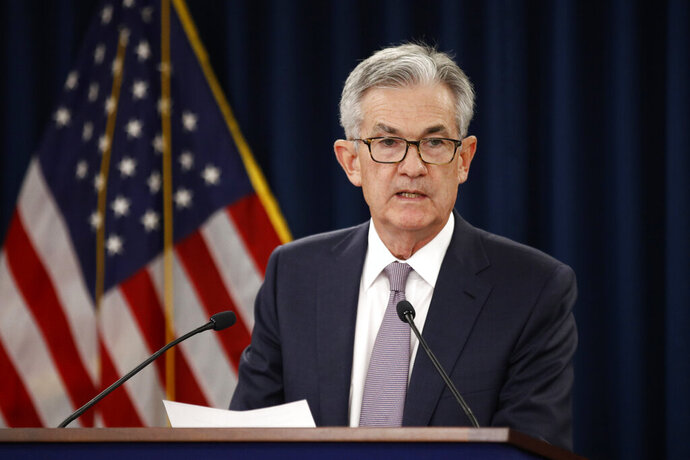 Federal Reserve Board Chair Jerome Powell speaks at a news conference following a two-day meeting of the Federal Open Market Committee, Wednesday, Sept. 18, 2019, in Washington. (AP Photo/Patrick Semansky)