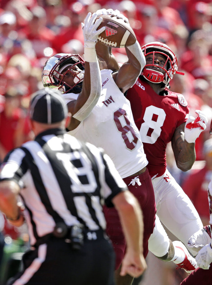 Troy cornerback Marcus Jones, left, breaks up a pass intended for Nebraska wide receiver Stanley Morgan Jr. (8) during the first half of an NCAA college football game in Lincoln, Neb., Saturday, Sept. 15, 2018. (AP Photo/Nati Harnik)