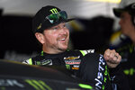 Kurt Busch climbs into his car for a practice session for Sunday's NASCAR Cup Series auto race, Saturday, July 27, 2019, in Long Pond, Pa. (AP Photo/Derik Hamilton)