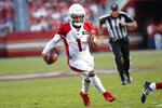 Arizona Cardinals quarterback Kyler Murray (1) runs for a touchdown against the San Francisco 49ers during the second half of an NFL football game in Santa Clara, Calif., Sunday, Nov. 17, 2019. (AP Photo/Josie Lepe)