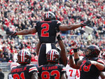 Ohio State running back J.K. Dobbins celebrates with teammates after scoring a touchdown against Nebraska during the first half of an NCAA college football game Saturday, Nov. 3, 2018, in Columbus, Ohio. (AP Photo/Jay LaPrete)