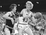 FILE - In this May 6, 1982, file photo, Seattle Supersonics' Jack Sikma, (43) turns towards the basket to shoot as San Antonio Spurs' Mark Olberding defends during an NBA playoff basketball game in Seattle. NBA stars Vlade Divac, Sidney Moncrief and Jack Sikma are the headliners of the 2019 class for the Basketball Hall of Fame. The honorees were announced Saturday, April 6, 2019, in Minneapolis before the Final Four. (AP Photo/Gary Stewart, File)