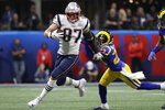 "FILE - In this Feb. 3, 2019, file photo, New England Patriots' Rob Gronkowski (87) runs against Los Angeles Rams' Nickell Robey-Coleman (23) during the first half of the NFL Super Bowl 53 football game in Atlanta. Gronkowski says he is retiring from the NFL after nine seasons. Gronkowski announced his decision via a post on Instagram Sunday, March 24, 2019, saying that a few months shy of this 30th birthday ""its time to move forward and move forward with a big smile."" (AP Photo/Jeff Roberson, File)"