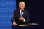 Democratic presidential candidate former Vice President Joe Biden answers a question during the second and final presidential debate Thursday, Oct. 22, 2020, at Belmont University in Nashville, Tenn. (AP Photo/Morry Gash, Pool)