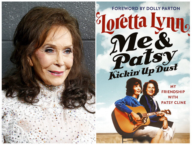 This combination photo shows Loretta Lynn posing for a photo at the Municipal Auditorium in Nashville, Tenn. on Feb. 10, 2016, left, and the cover image for her book