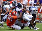 FILE - In this Sept. 15, 2018, file photo, Clemson's Dexter Lawrence brings down Georgia Southern quarterback Shai Werts during the first half of an NCAA college football game, in Clemson, S.C. Lawrence is a possible pick in the 2019 NFL Draft. (AP Photo/Richard Shiro, File)