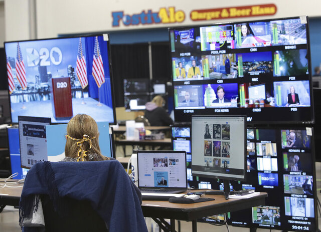 The control room where live feeds are managed is in operation for the first night of the virtual DNC convention at the Wisconsin Center on August 17, 2020 in Milwaukee, Wisconsin. The convention, which was once expected to draw 50,000 people to the city, is now taking place virtually due to concerns with the coronavirus pandemic.  (Scott Olson/Pool via AP)