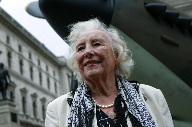 FILE - In this Friday Aug. 20, 2010 file photo, Dame Vera Lynn attends a ceremony to mark the 70th anniversary of the Battle of Britain. in central London. The family of World War II forces sweetheart Vera Lynn says she has died. She was 103 it was reported on Thursday, June 18, 2020. (AP Photo/Lefteris Pitarakis, File)