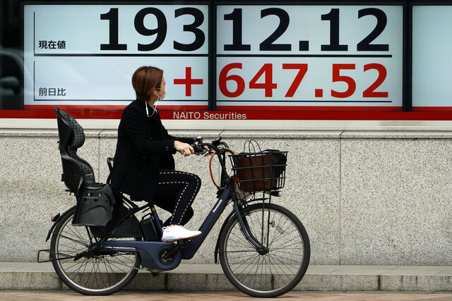 A woman looks at an electronic stock board showing Japan's Nikkei 225 index at a securities firm in Tokyo Friday, March 27, 2020. Shares are mostly higher in Asia after stocks surged again on Wall Street with the approaching approval of a massive coronavirus relief bill by Congress.(AP Photo/Eugene Hoshiko)