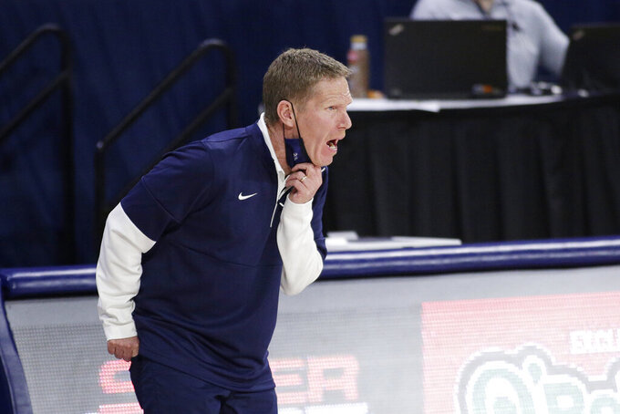 Gonzaga head coach Mark Few shouts to his players during the first half of an NCAA college basketball game against Northwestern State in Spokane, Wash., Monday, Dec. 21, 2020. (AP Photo/Young Kwak)