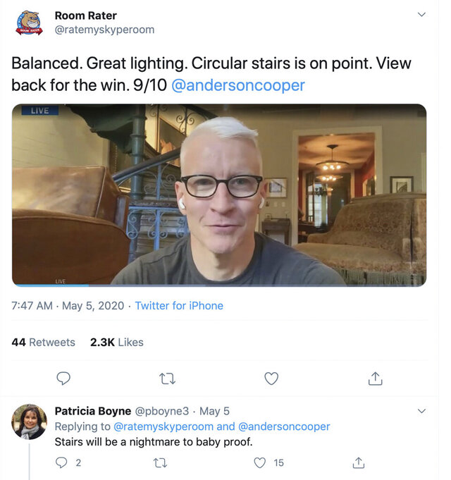 This image taken from the Room Rater Twitter account shows shows CNN's Anderson Cooper. Ever since the coronavirus forced pundits, reporters, analysts and sports figures to speak to the masses from their dens, living rooms and kitchens, television has given us a peek at the famous and not-so-famous — a glimpse we never got when they were in the studio.  (Twitter page of Room Rater via AP).