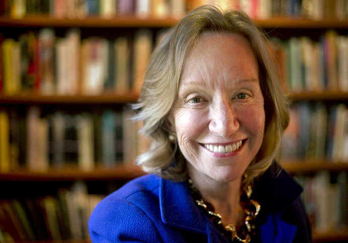 FILE - In this Oct. 7, 2013, file photo, author Doris Kearns Goodwin poses for a portrait at her home in Concord, Mass. Simon & Schuster told The Associated Press on Tuesday, Feb. 13, 2018, that Goodwin's new book,
