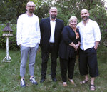In this photo taken May 1, 2019, from left, activists, Konrad Korzeniowski, Michał Wojcieszczuk, abuse survivor Barbara Borowiecka, and activist Rafał Suszek, pose for a photo. A documentary film with testimony by victims of clerical abuse in Poland is so harrowing that it has forced an unprecedented reckoning with the problem in one of Europe's most deeply Catholic societies. (AP Photo/Marta A. Hallay-Suszek)