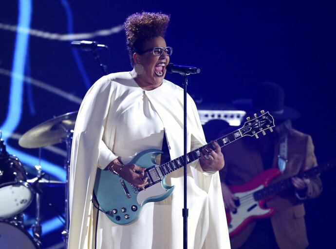 """FILE - This Feb 15, 2016 file photo shows Brittany Howard of Alabama Shakes performing at the 58th annual Grammy Awards  in Los Angeles. Howard's solo album """"Jaime"""" is up for two Grammy Awards at Sunday's ceremony. Her song """"History Repeats"""" competes for best rock performance and best rock song. (Photo by Matt Sayles/Invision/AP, File)"""