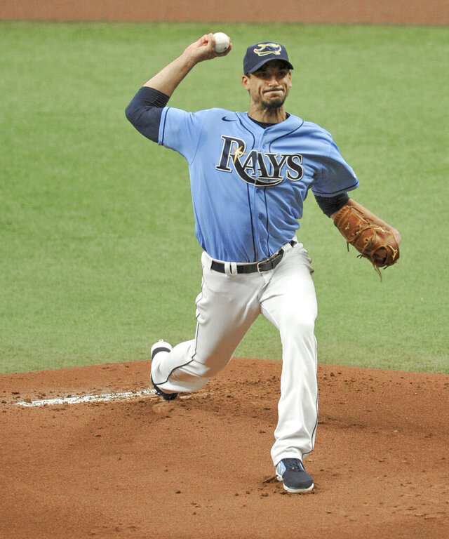 Tampa Bay Rays starter Charlie Morton pitches against the New York Yankees during the first inning of a baseball game Sunday, Aug. 9, 2020, in St. Petersburg, Fla. (AP Photo/Steve Nesius)