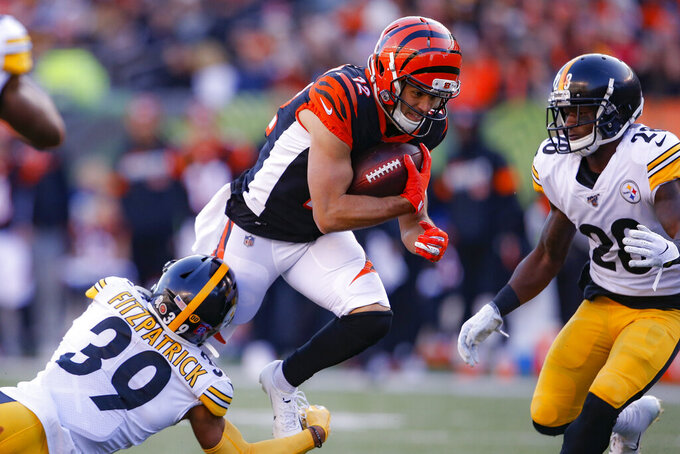 Cincinnati Bengals wide receiver Alex Erickson (12) runs the ball against Pittsburgh Steelers free safety Minkah Fitzpatrick (39) during the second half an NFL football game, Sunday, Nov. 24, 2019, in Cincinnati. (AP Photo/Gary Landers)